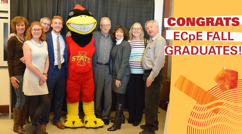 CONGRATS ECpE FALL GRADUATES! Group photo with Cy at the ceremony