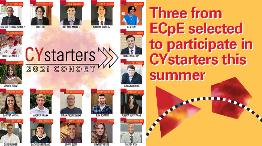 Image text: Three from ECpE selected to participate in CYstarters this summer. Photo shows the CYstarters 2021 Cohort, with 19 student headshots and their names underneath.