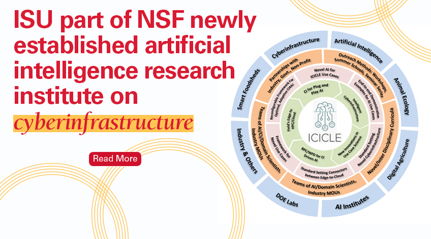 Image text: ISU part of NSF newly established artificial intelligence research institute on cyberinfrastructure. Read more. Shows a graphic for the ICICLE project, which lists different roles the project plays.